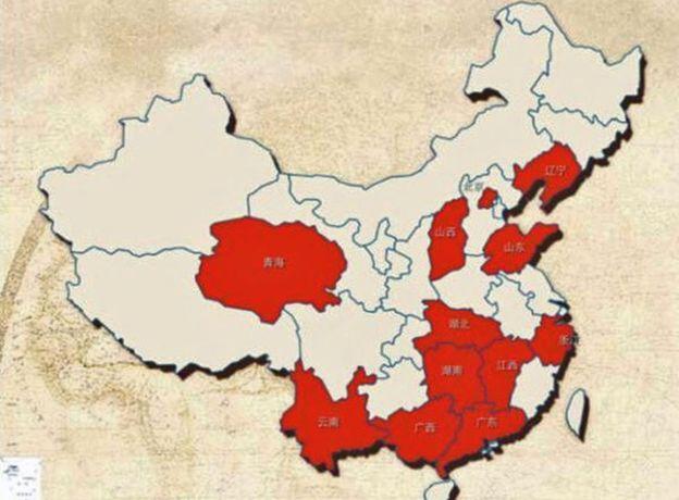 Районы Китая, где, по данным People's Daily, происходит больше всего измен